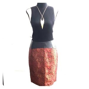 NWT Red and black paisley desgn pencil skirt